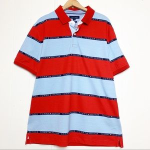 Tommy Hilfiger Chambray & Red Logo Striped Polo